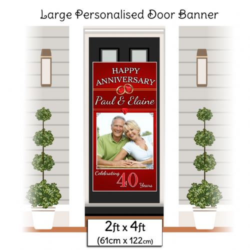 Personalised 40th Ruby Wedding Anniversary Door PHOTO Banner Poster ~ N29